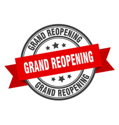 Grand reopening label grand reopening red band vector
