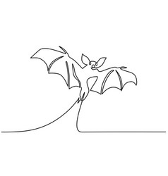 halloween bat silhouette continuous one line draw vector image