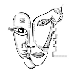 Hand drawing faces in cubism style vector image