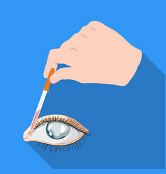 hand wrapping the medicine in the damaged eye vector image