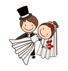 Happy couple married icon vector