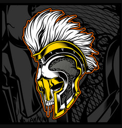 Head skull wit helmet gladiator vector