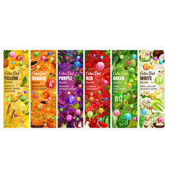 Healthy color diet fruits and veggies vitamins vector