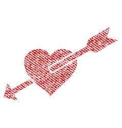 Heart arrow fabric textured icon vector