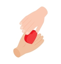 Heart in hands 3d isometric icon vector image