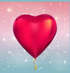 heart shape colour glossy helium balloons on vector image