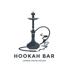 Hookah logo or emblem design shisha lounge bar vector