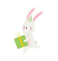 Humanized hare runs with a gift vector