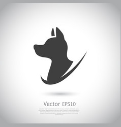 Hunting dog head icon on gray background vector