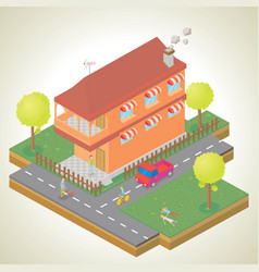 isometric of my house environtment vector image