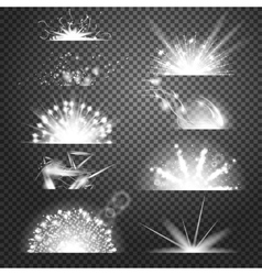 Lighting effects Set of glints on vector