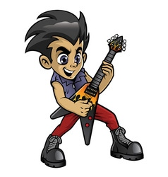 Little rocker boy playing an electric guitar vector