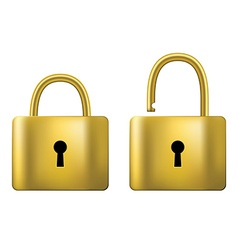 Locked and unlocked Padlock gold isolated on white vector