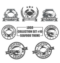 logo collection set with seafood theme vector image