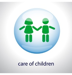 Logo of the care of children - Children in a vector image