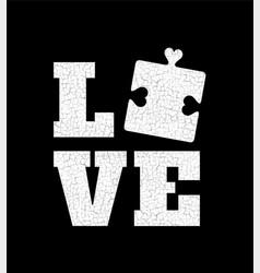 love autism awareness puzzle piece vector image