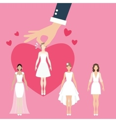 man pick select girl as bride wife matrimonial vector image