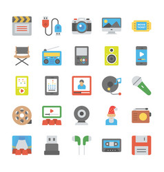 Media and entertainment flat icons vector