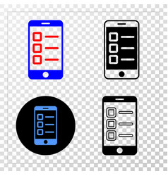 mobile test items eps icon with contour vector image