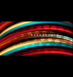 multicolored wave lines on black background design vector image