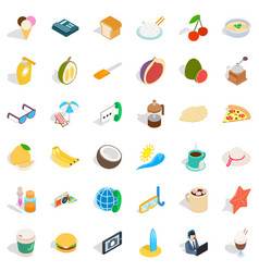 One breakfast icons set isometric style vector