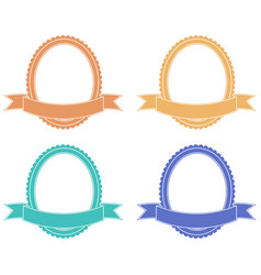 oval label with ribbon banner colored set vector image