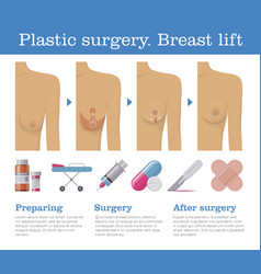 Plastic surgery breast lift vector