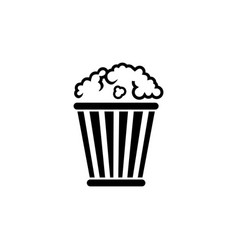 popcorn bucket pop corn box flat icon vector image