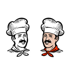 Portrait of joyful chef or baker logo label or vector