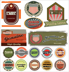 premium quality retro labels vector image