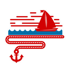 sailboat isolated marine icon ship in sea and vector image