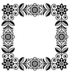 scandinavian folk art frame cute floral vector image