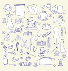 seamless hand drawn pattern with sewing things vector image