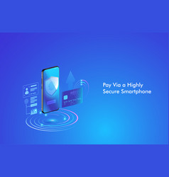 Secure online payment transaction with smartphone vector