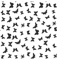Set butterflies cicada isolated black silhouette vector