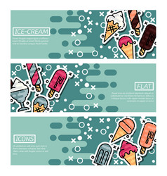 Set of horizontal banners about ice-cream vector