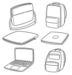 set of laptop and laptop bag vector image