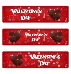 Set of three horizontal red banner with heart vector