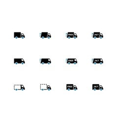 Shopping Trucks duotone icons on white background vector image
