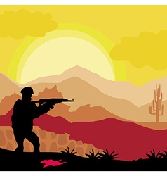 Silhouette of soldier holding gun vector image
