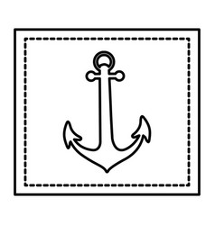 silhouette square shape frame with anchor vector image