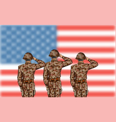 soldier saluting on fourth of july background for vector image
