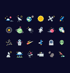 space icons earth moon with sun and satellites vector image