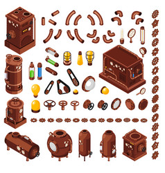 steampunk isometric constructor vector image