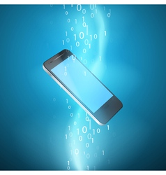 Stream binary code with mobile phone vector