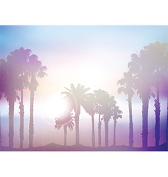 Summer palm tree landscape with retro effect vector