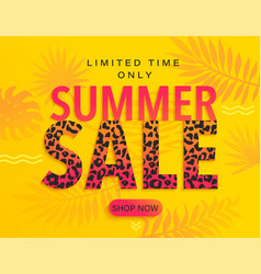 summer sale banner with leopard print vector image