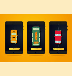 taxi car rent and carsharing service web mobile vector image