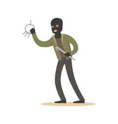 Thief in a black mask with master keys colorful vector