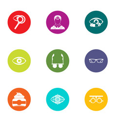 treat vision icons set flat style vector image